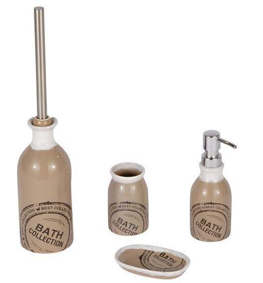 Trendiges Badzubehör-Set in taupe im Shabby-Chic aus Keramik bestehend aus: WC-Bürste, Seifenspender, Ablage und Becher. Gesehen für € 51,10 bei kloundco.de.