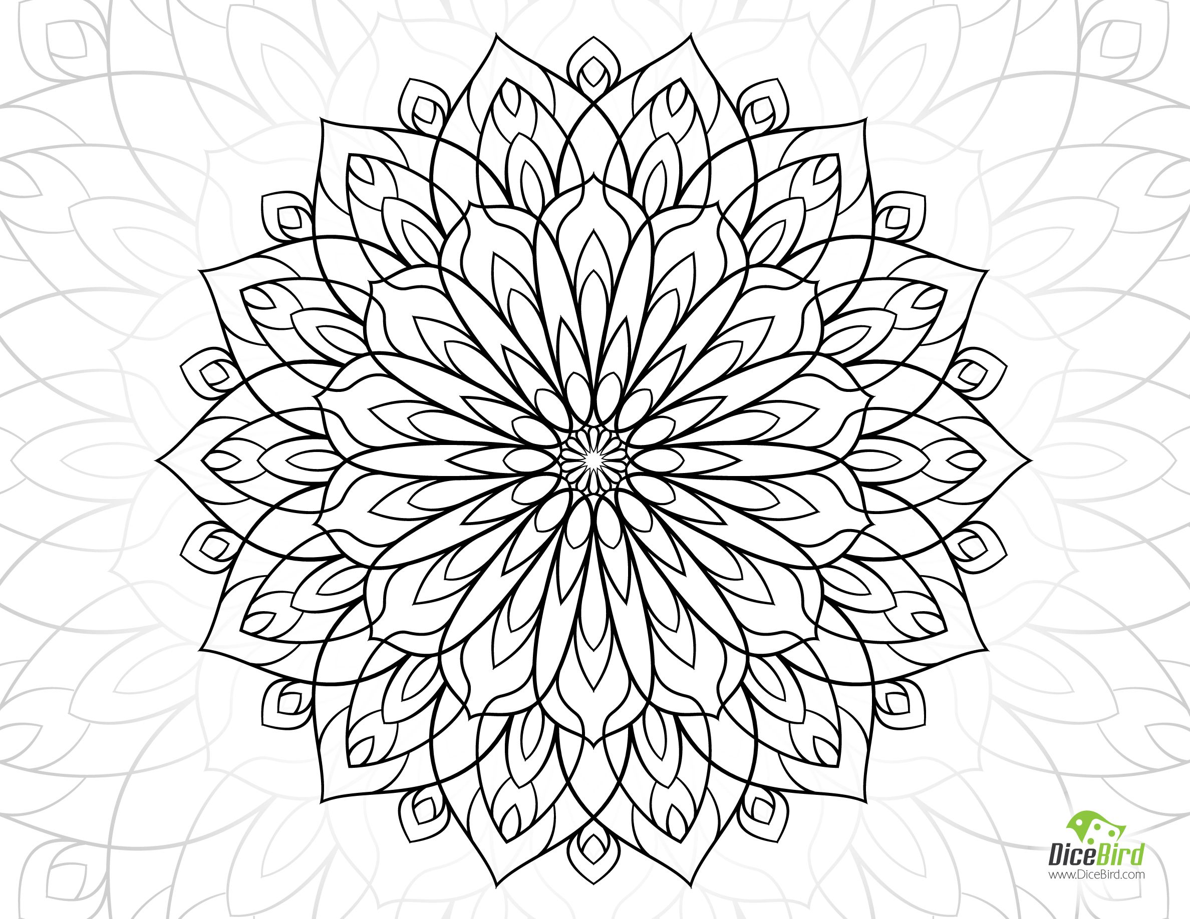 Dahlia Flower Free Adult Coloring Sheets Mandala Coloring Pages