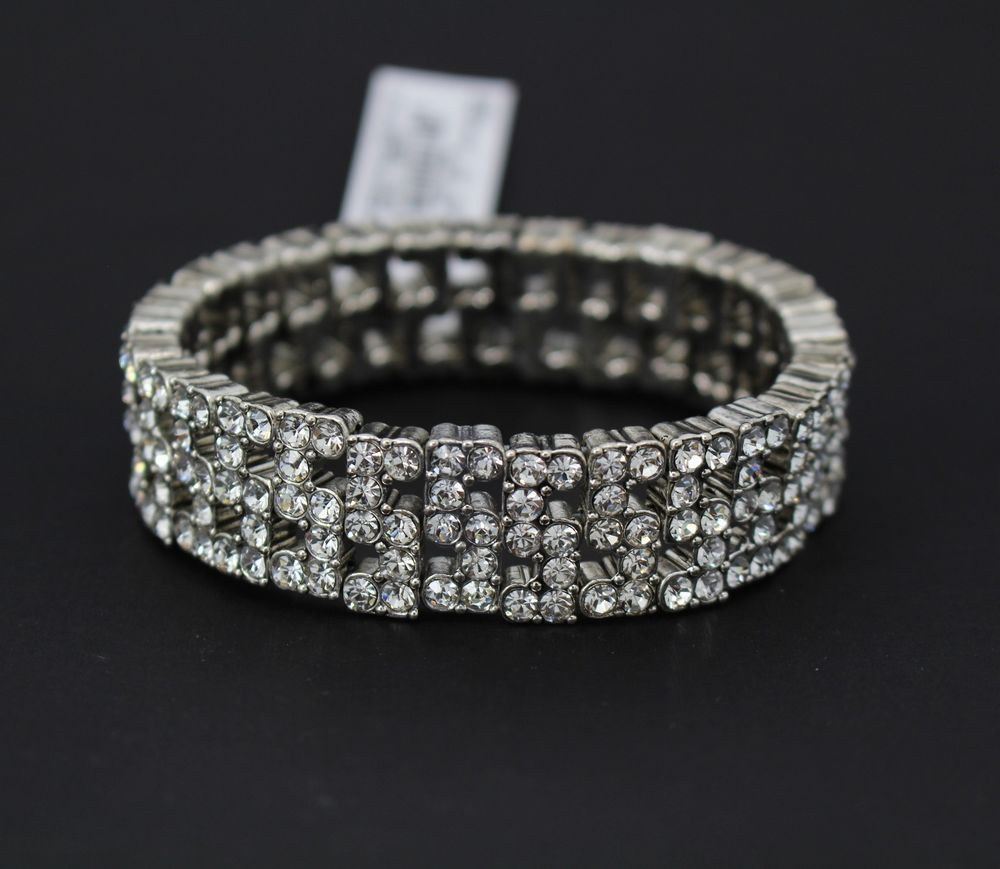 Anne Klein - Silver-Tone Crystal Encrusted Stretch Bangle Bracelet #AnneKlein #Bangle