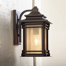 Hickory Point 12 High Walnut Bronze Outdoor Wall Light Lampu Dinding Lampu Desain Lampu