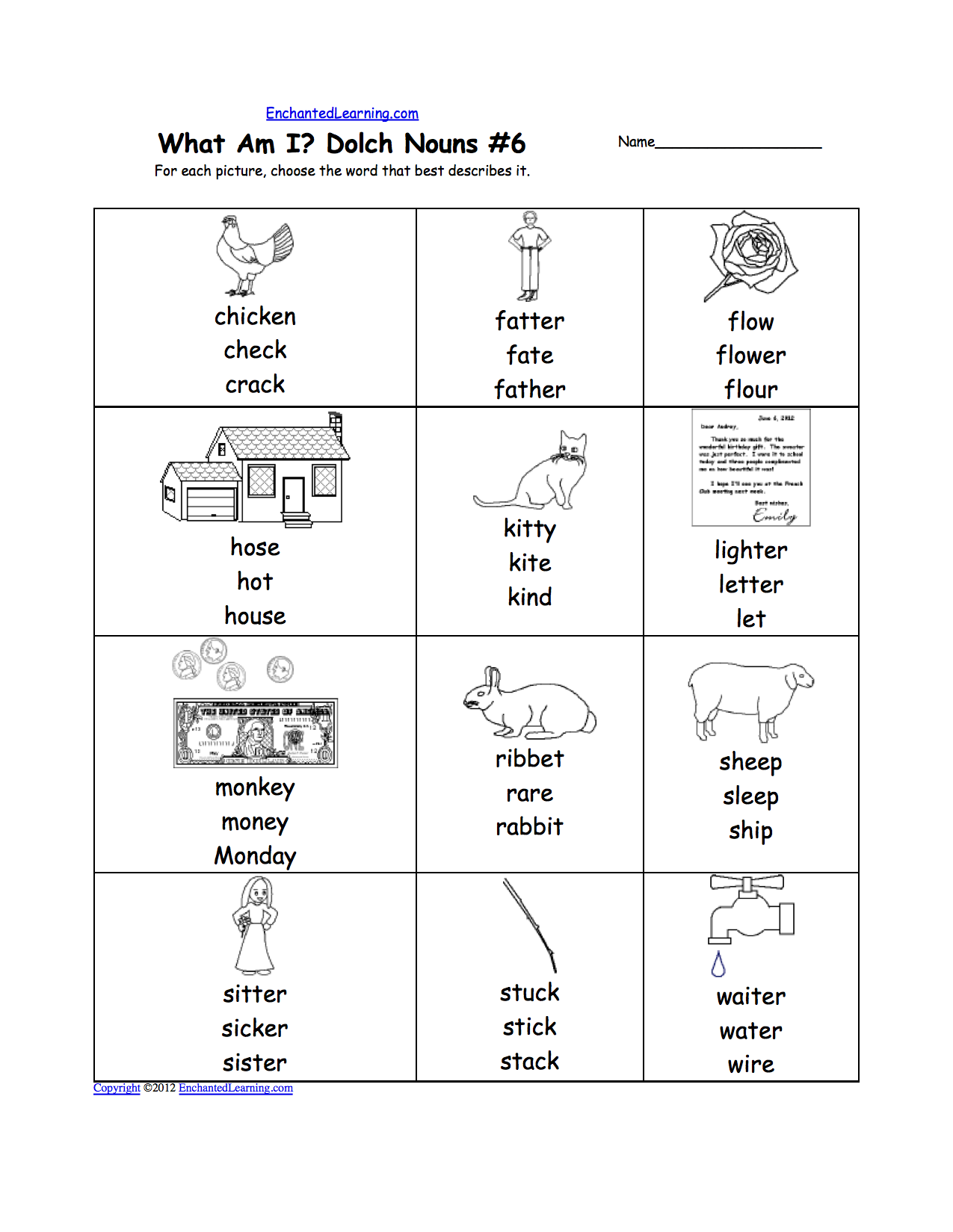 Worksheets Noun Worksheet dolch nouns multiple choice spelling words at enchantedlearning worksheet with a picture and answers