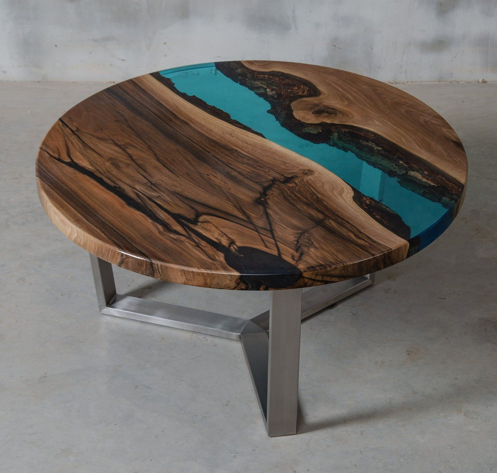 Eden Double Round Coffee Table Italian Walnut Wood And Clear Epoxy Resin On A Chromed Metal Base By Ghecipol Nachbearbeitete Mobel Holz Ideen Mobel [ 1045 x 1071 Pixel ]