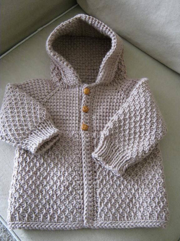 e14bddc28 Brown Beige Taupe Crochet Boy Sweater with Hood. 6-12 Months - MADE ...