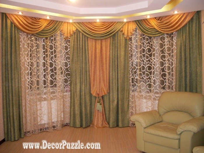 French Curtain Style For Living Room Window Green And Orange Curtains 2017