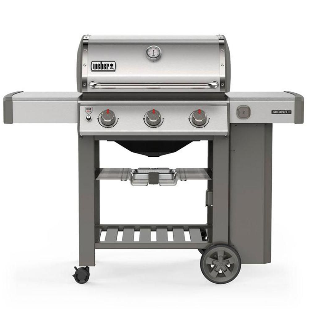 Weber Genesis Ii S 310 3 Burner Propane Gas Grill In Stainless Steel With Built In Thermometer 61001001 The Home Depot Propane Gas Grill Propane Grill Gas Grill