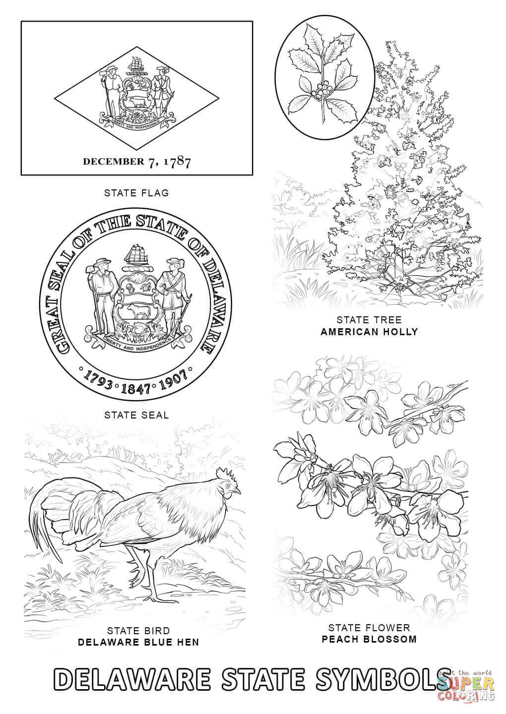 pennsylania state symbols coloring pages | Pin by Debbie Economidis on Places - Delaware | Flag ...