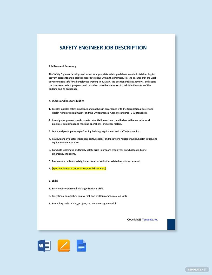 Free Safety Engineer Job Description Template #AD, , #AFFILIATE, #Engineer, #Safety, #Free, #Template, #Description
