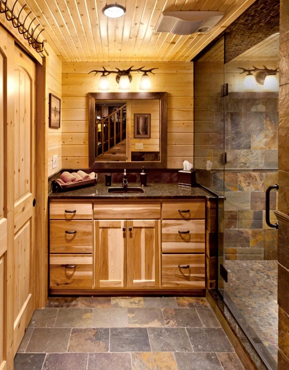 Installing Slate Tiles In Bathrooms Log Home Bathrooms Log Cabin Bathrooms Cabin Bathrooms