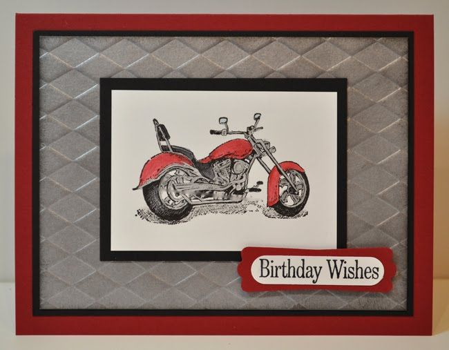 Stamping Inspiration Diamond Plate Motorcycle Card Motorcycle