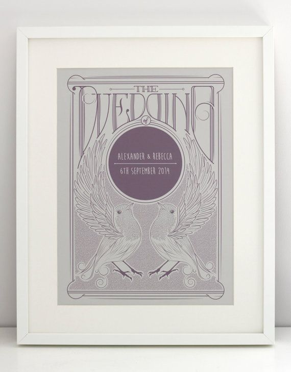 Beautiful Bride and Groom wedding gift Personalised print, available framed. HeyHoGifts at Etsy Uk From £12