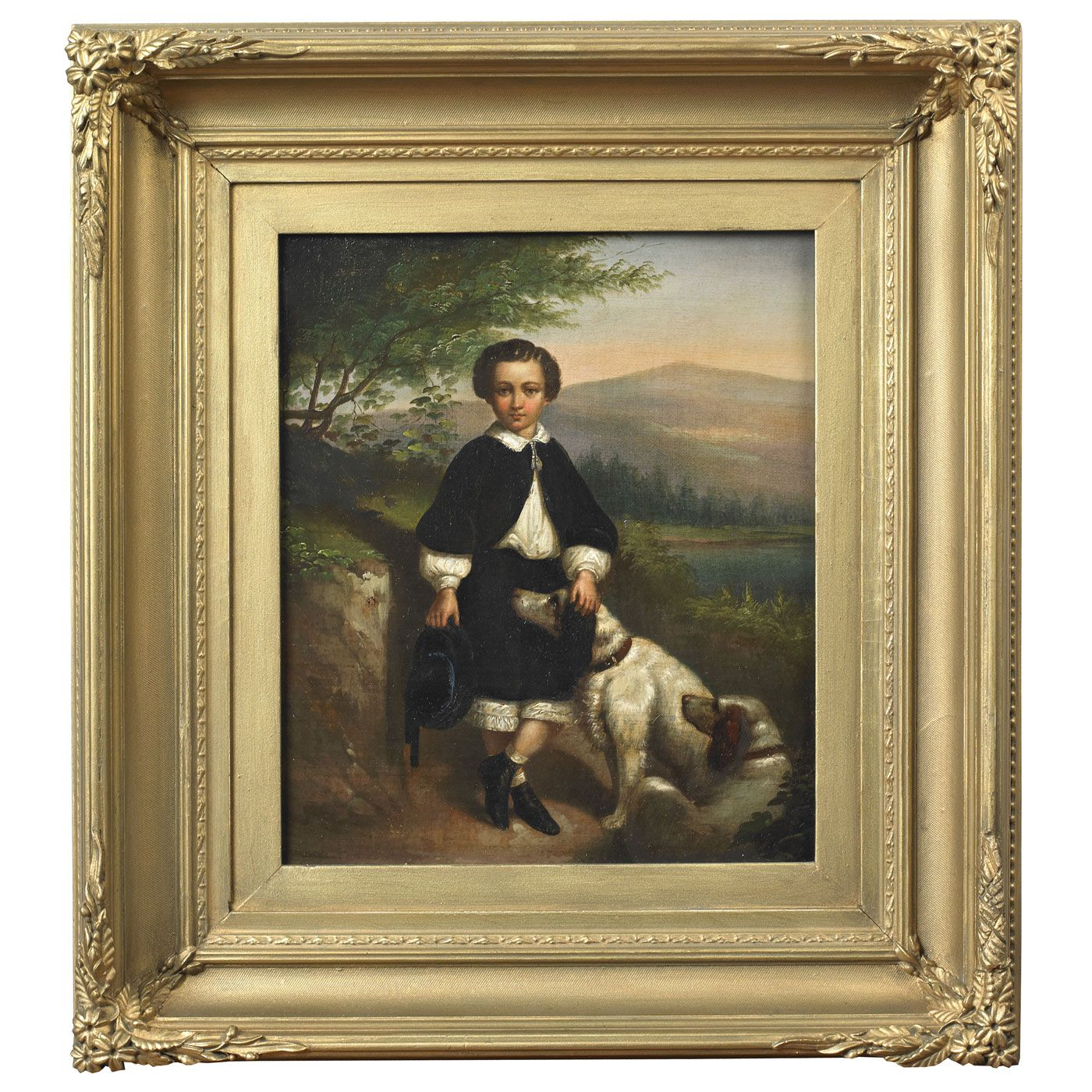 Portrait of a Young Boy with His Dogs | Jeffrey Tillou Antiques   Artist unidentified , ca. 1830-1850.