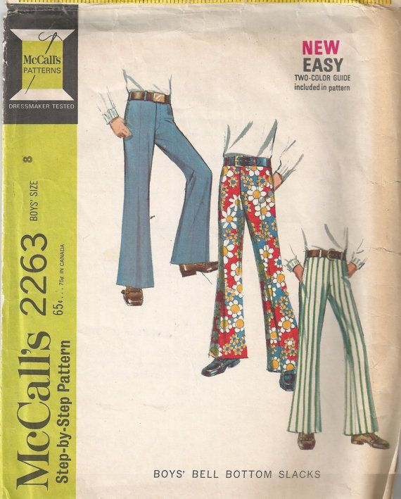1970s Bell Bottom Pants McCalls 2263 Fly Front/Slash Pockets/Back ...