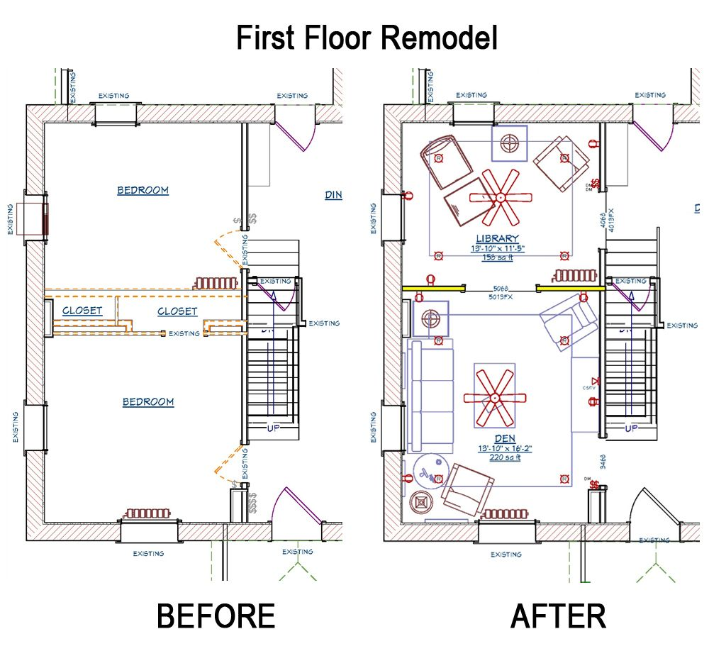 Floor Plans For The Remodel Of A Family Home Over 100 Years Old The Before And After Exterior House Remodel
