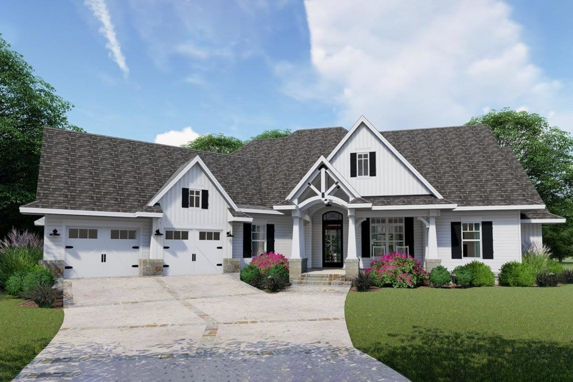 Two Story 4 Bedroom Craftsman Home with Angled Garage and Bonus Room Floor Plan