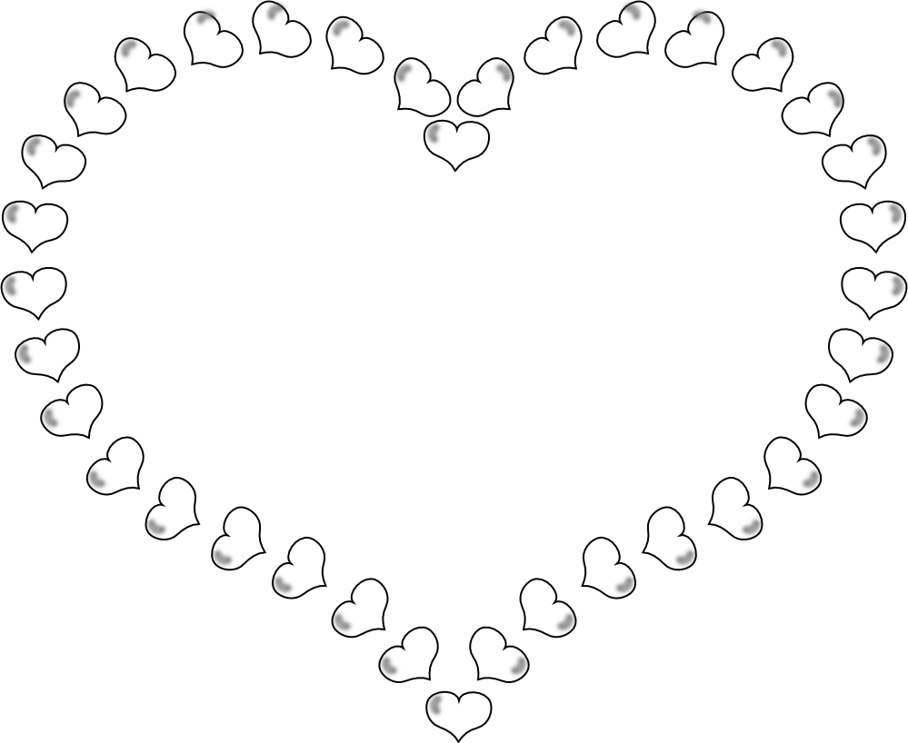 Hearts And Roses Coloring Pages | Heart Shaped Border Little Hearts ...