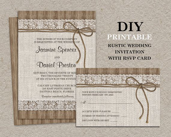 Burlap And Lace Wedding Invitation With Rsvp Card Printable Rustic Wedding In Rustic Bridal Shower Invitations Engagement Invitations Wedding Invitations Rsvp