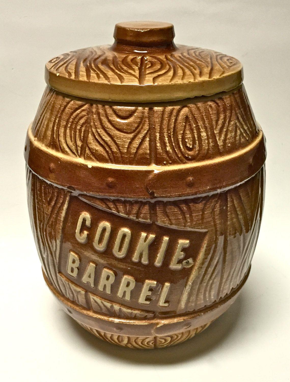 Retro Kitchen Storage Jars Vintage Retro Pottery Cookie Barrel Cookie Jar Crock Kitchen