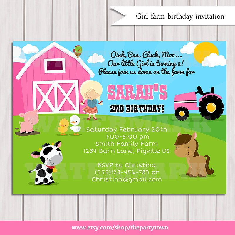 Girls Farm Birthday Invitation Barn Animals Pig Chicken Sheep And Cow Personalized Party Invite Digital Printable