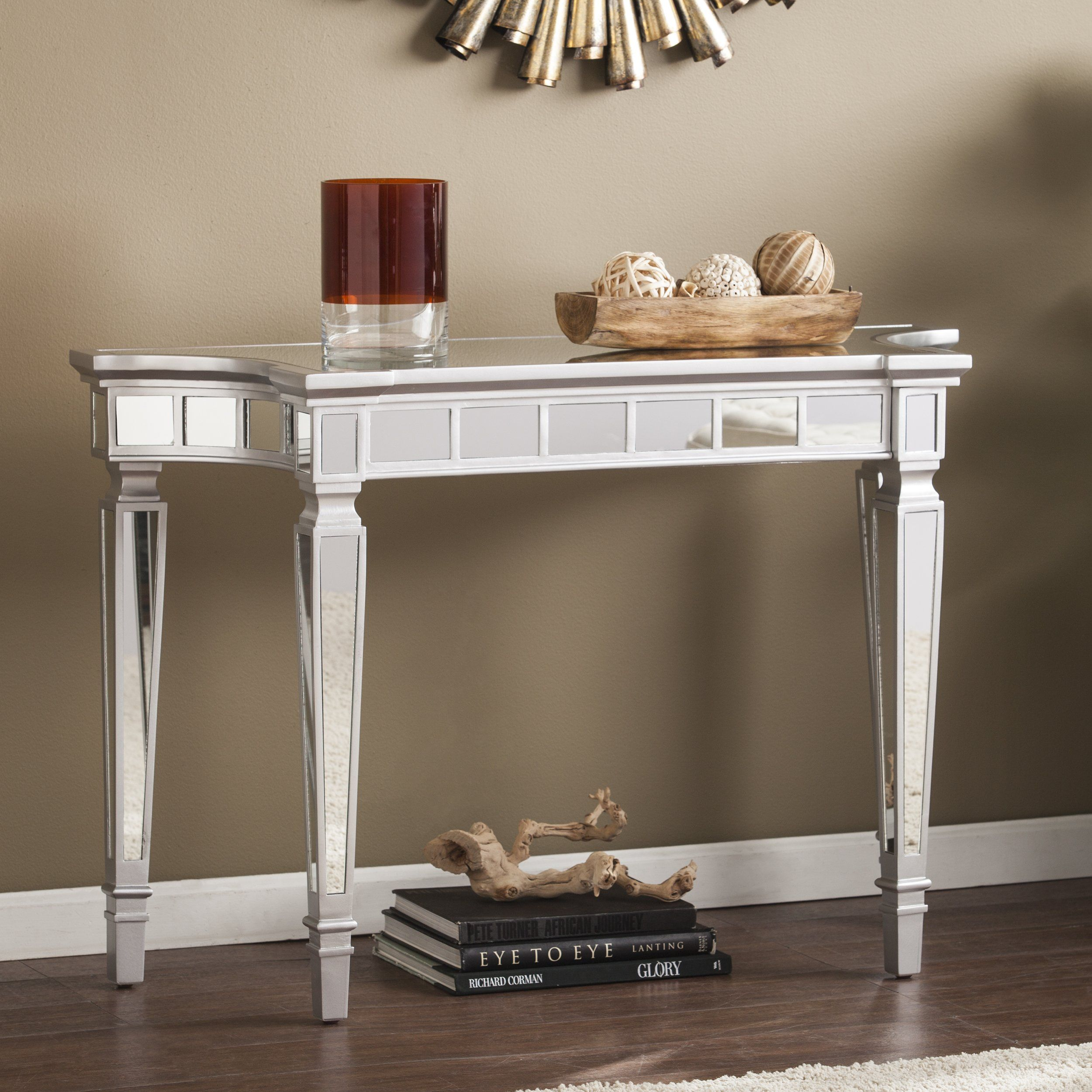 T1840 A Sophie Silver Mirrored Living Room Hallway Sofa Table Mirrored Console Table Console Table Mirrored Furniture