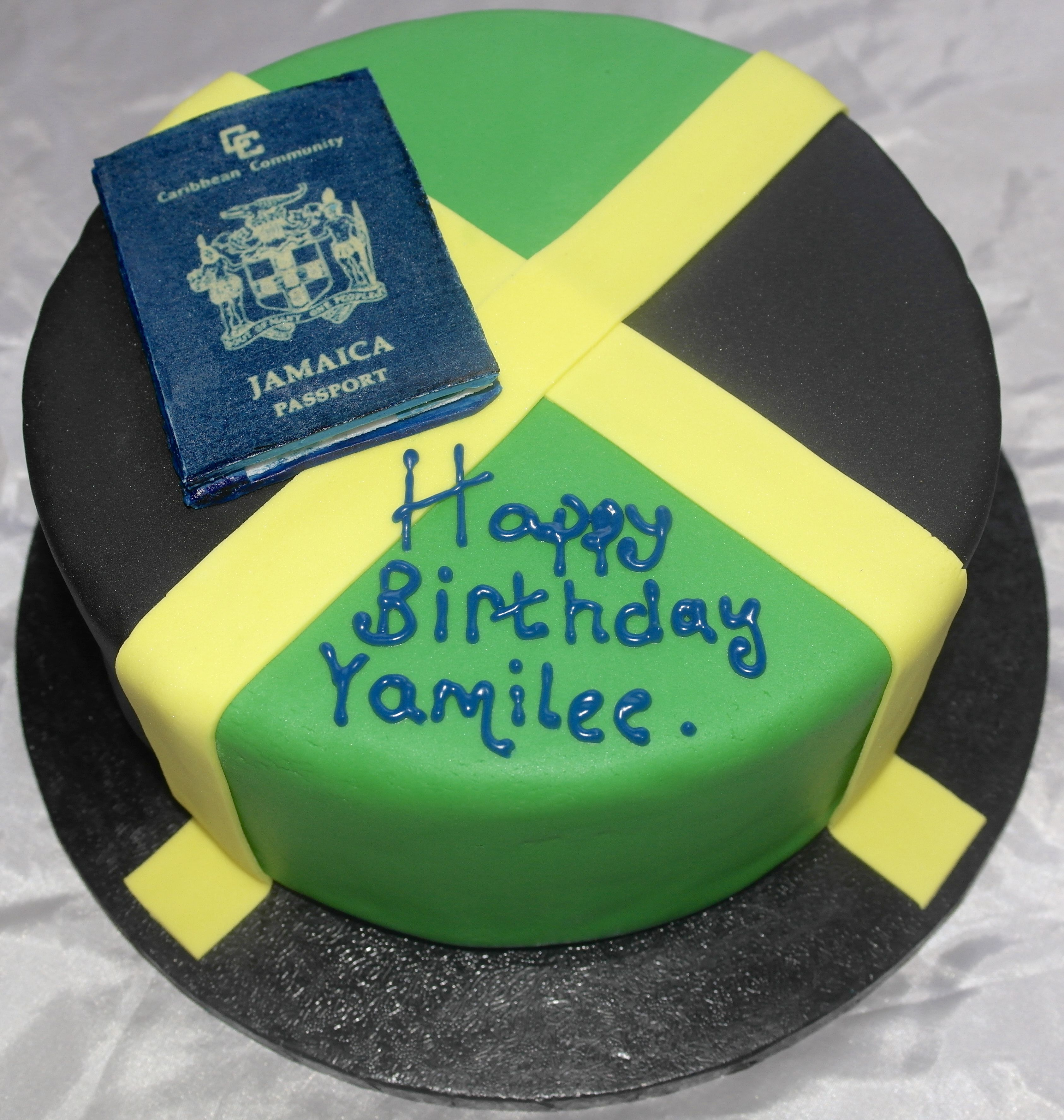 Pleasant Jamaica Flag Birthday Cake Finished With Fondant Jamaica Passport Funny Birthday Cards Online Overcheapnameinfo