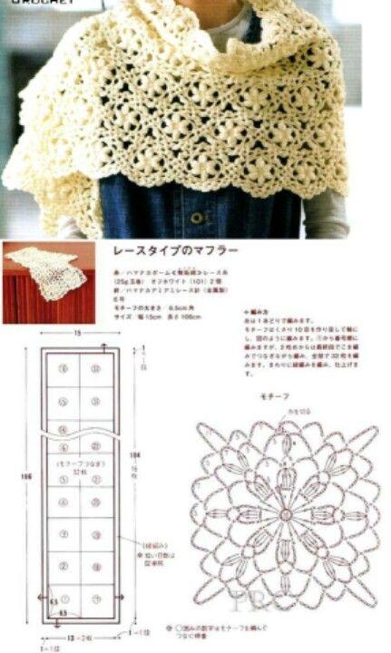 Shawl chart.. | Crochet | Pinterest | Chal, Tejido y Bufanda cuello