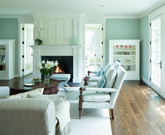 The Cabinet And Trim Paint Color Is Benjamin Moore Icicle In Enamel Interior House Colors Great Room Paint Colors Coastal Interiors #soothing #colours #for #living #room
