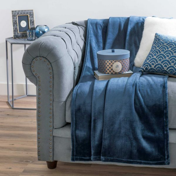 Blue Blanket 130x170 With Images Blue Throws Blue Blanket Blue Sofa