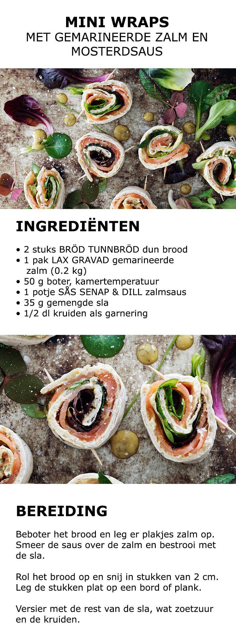 Inspiratie voor Midsommar - Mini wraps met gemarineerde zalm en mosterdsaus…