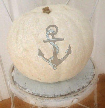 White pumpkin with anchor.  ~ Ʀεƥɪииεð вƴ╭•⊰✿ © Ʀσxʌиʌ Ƭʌиʌ ✿⊱•╮