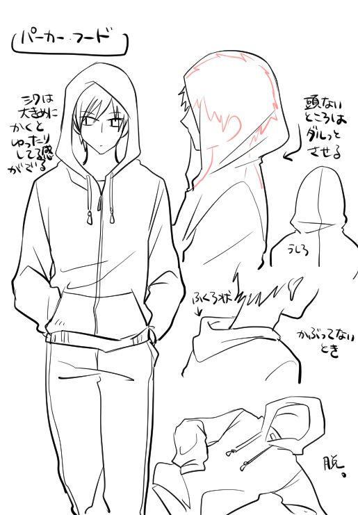 Chico Con Capucha Frontal Y De Perfil Drawing Clothes Hoodie Drawing Art Reference