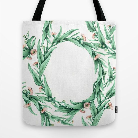 Gumleaf Wreath Tote Bag in mint and pink, Nature Botanical Watercolor Drawing | Made to Order | Ships in 3-5 days from USA