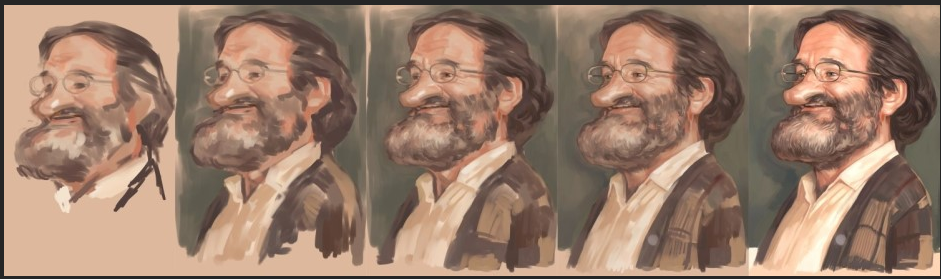 Robin Williams caricature process   네이버 블로그