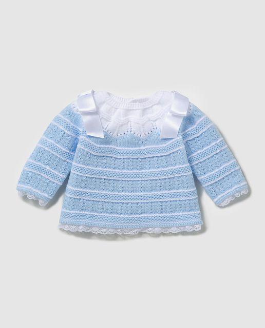 aa82d172a Jersey de bebé Dulces en azul con lazos | New in Baby | Chaqueta de ...