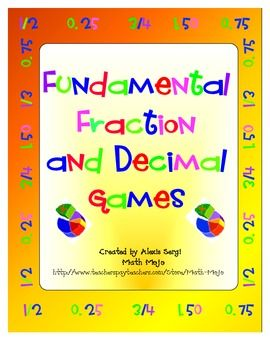 Awesome games to reinforce fraction and decimal numbers sense and skills. Buy them now and make them for next year! $6.50