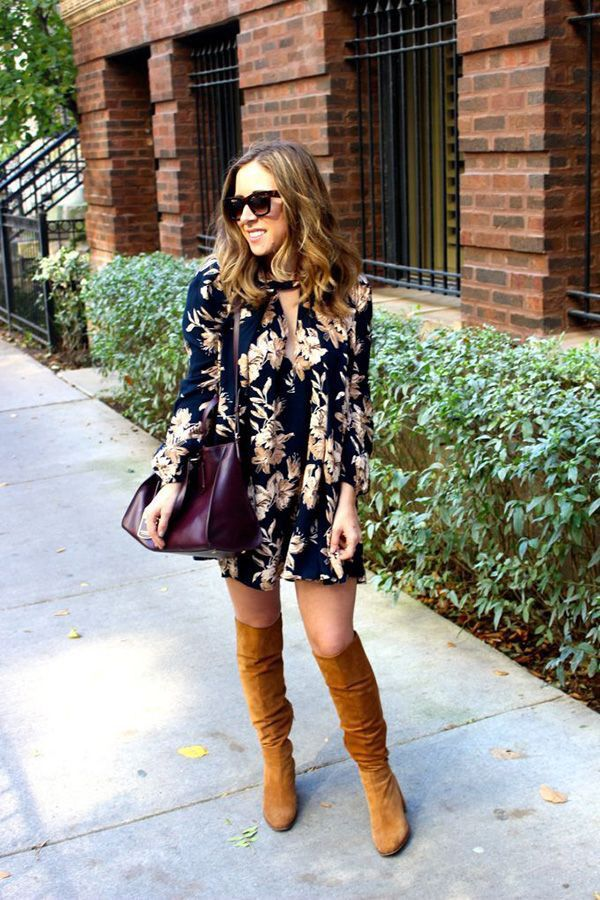 Floral Dress Otk Boots Fashion November Fashion Fashionista