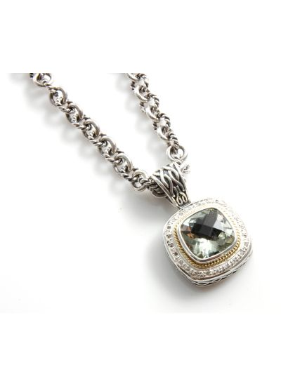925 Sterling Silver 18K Green Amethyst and Diamond Necklace