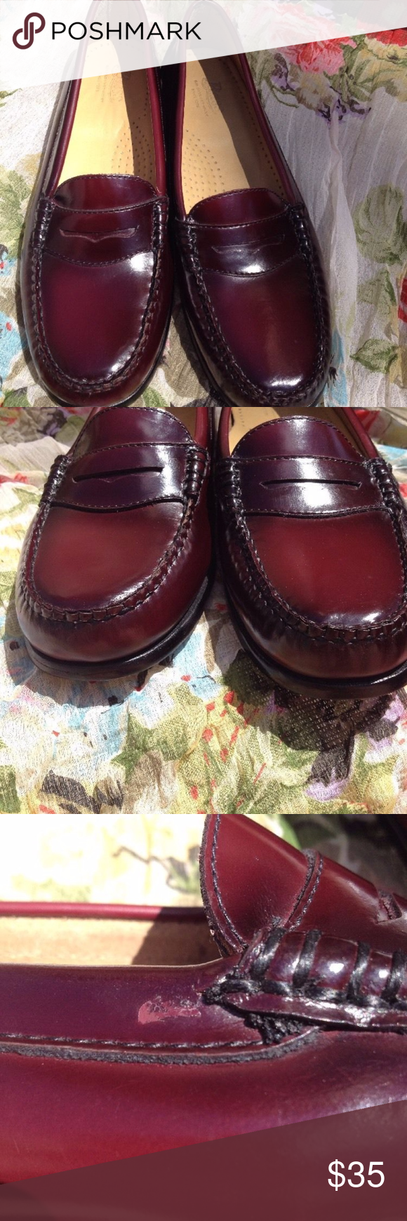 """Burgundy GH Bass Penny Loafers 7.5 EUC Bass Diana Weejun Penny Loafers size 7.5  Approx. Measurements: ---Inside heel to toe -- 10"""" ---Heel Height -- .75"""" ---Across Ball on bottom of sole -- 3.5""""  both have a marking on the sole (see picture)  Retail for $110  Burgundy Bass Shoes Flats & Loafers"""