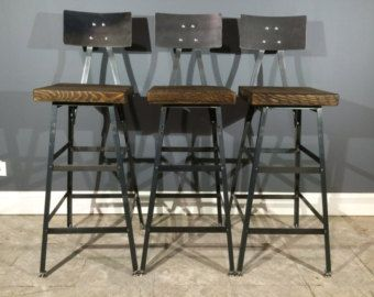Set of 3 Rustic Bar Stools W Steel Backs Made from Reclaimed Barn Wood Industrial hand made stools off item Code by UrbanWoodFurnishings on Etsy
