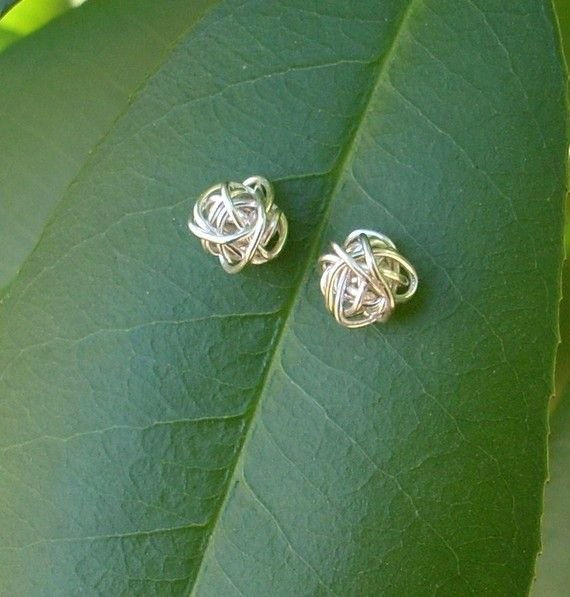 Silver plated Copper Wire Knot Stud Earrings by RingBinder on Etsy, $10.90