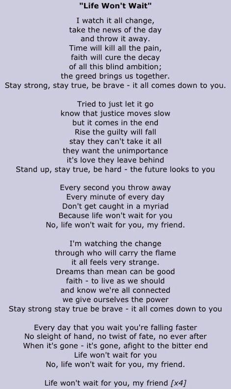 Life Won T Wait Lyrics Ozzy With Images Keep On Keepin
