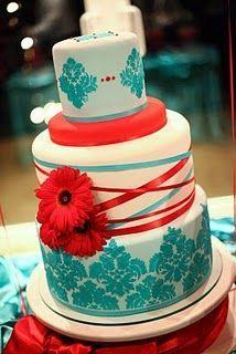 I Love This Cake Wedding Cake Red Wedding Cake Navy Aqua Wedding Cakes