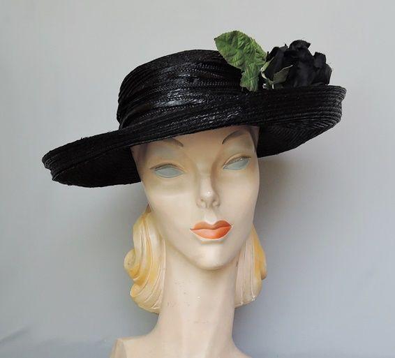 1950s Wide Brimmed Black Straw Hat with Huge Black Rose d2388b93c2bf