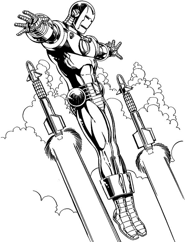 iron man flying coloring page