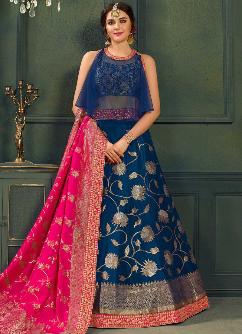 81224e6aa9 Blue Pure Silk Designer Lehenga Choli | Lehenga Choli | Bridal ...
