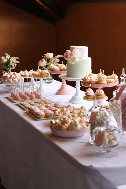 desert bar in soft pinks you can do a desert bar for any occasion Like, Comment, Repin !!
