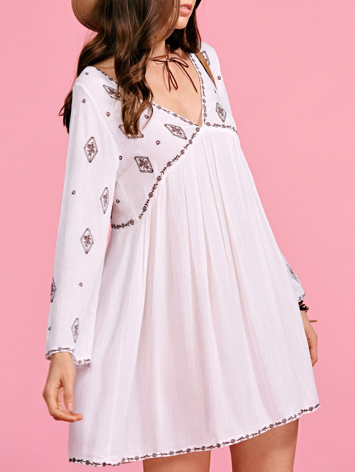 Ethnic embroidery plunging neck long sleeve dress sleeved dress