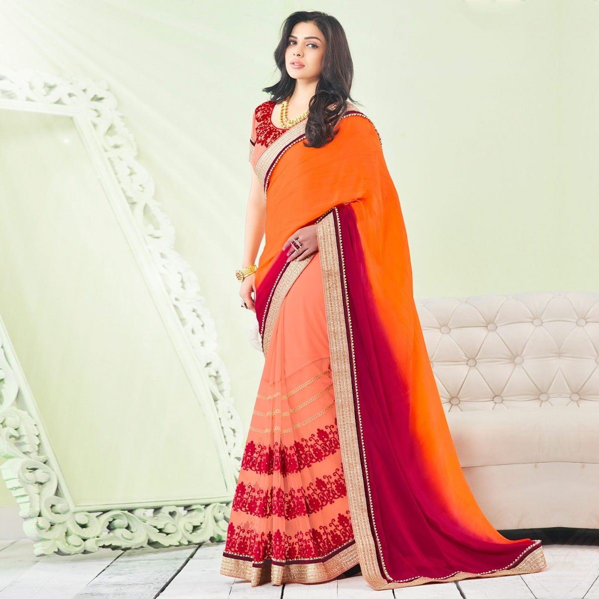 1b9c932a65 Buy Shaded Orange - Peach Georgette Saree for womens online India, Best  Prices, Reviews - Peachmode
