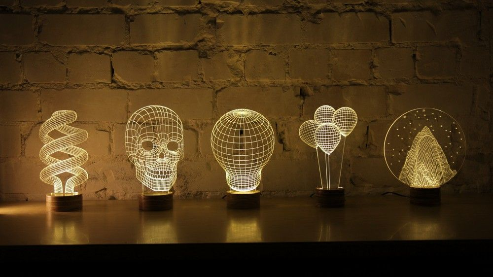 Original 2d Lamp Design Becomes 3d When Lit Bulbing Magical Lamp Lamp Design Creative Lamps