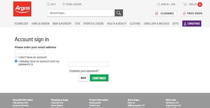 Argos Login Argos Co Uk Uk Retail Store Online Shopping