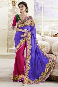 Faux Georgette and Jecquard Lehenga Saree In Violet and Magenta Colour